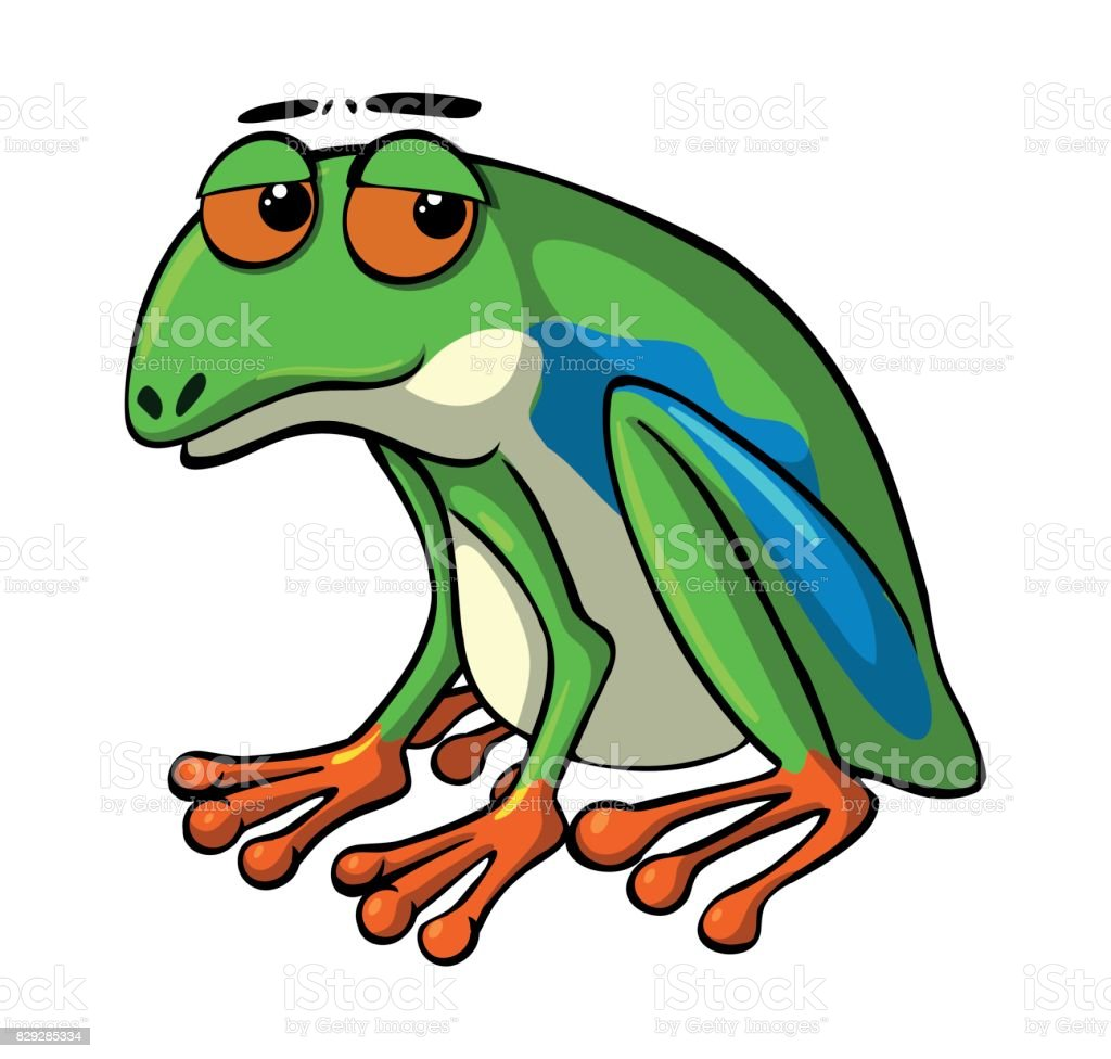 Green frog with sad eyes vector art illustration
