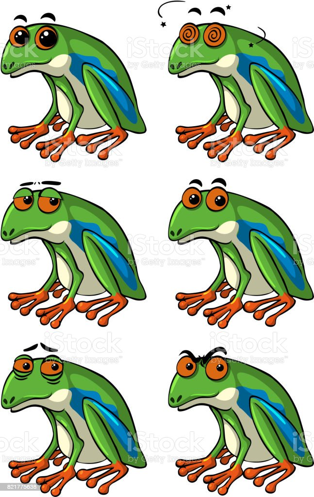 Green frogs with different facial expressions vector art illustration