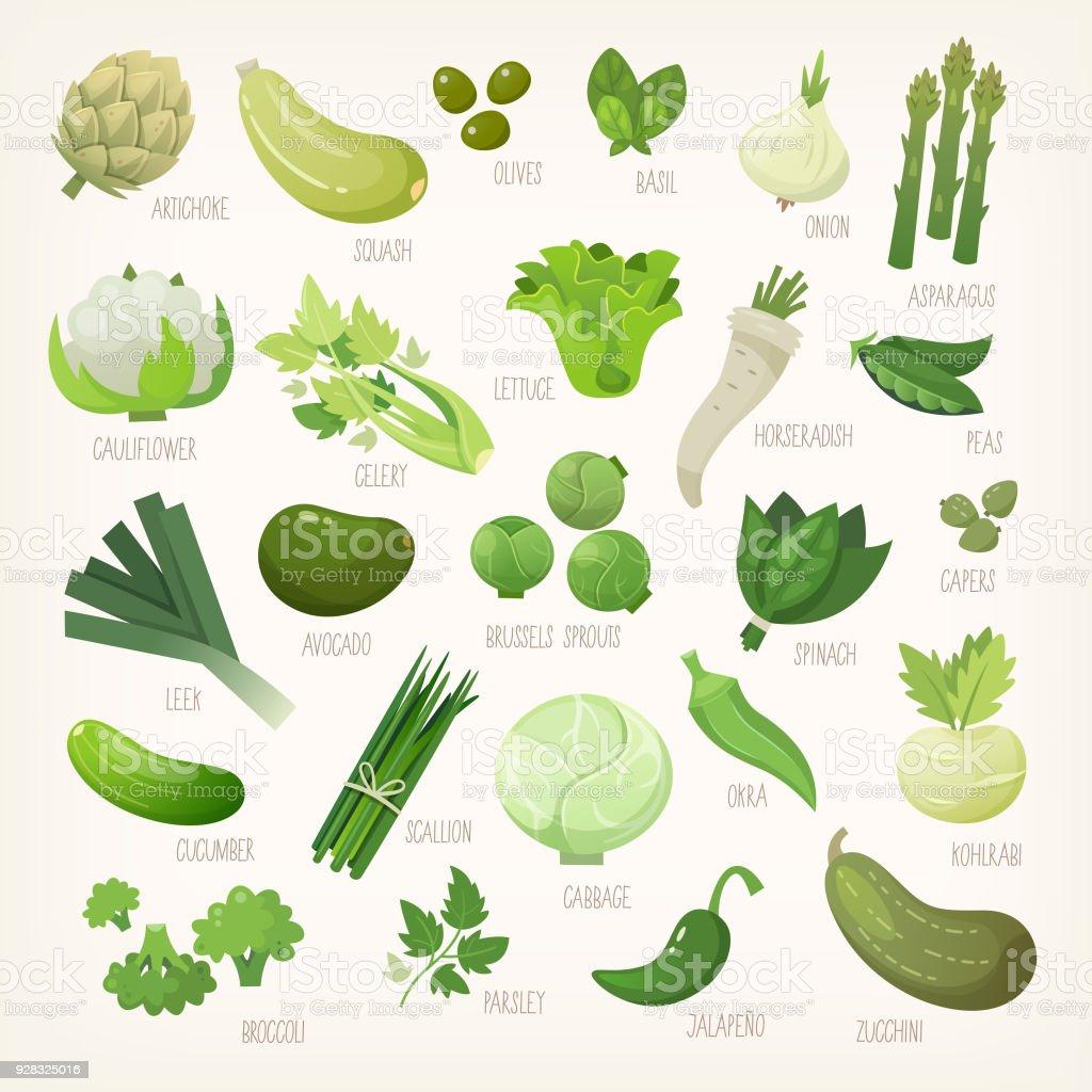 Vert fruits et légumes - Illustration vectorielle