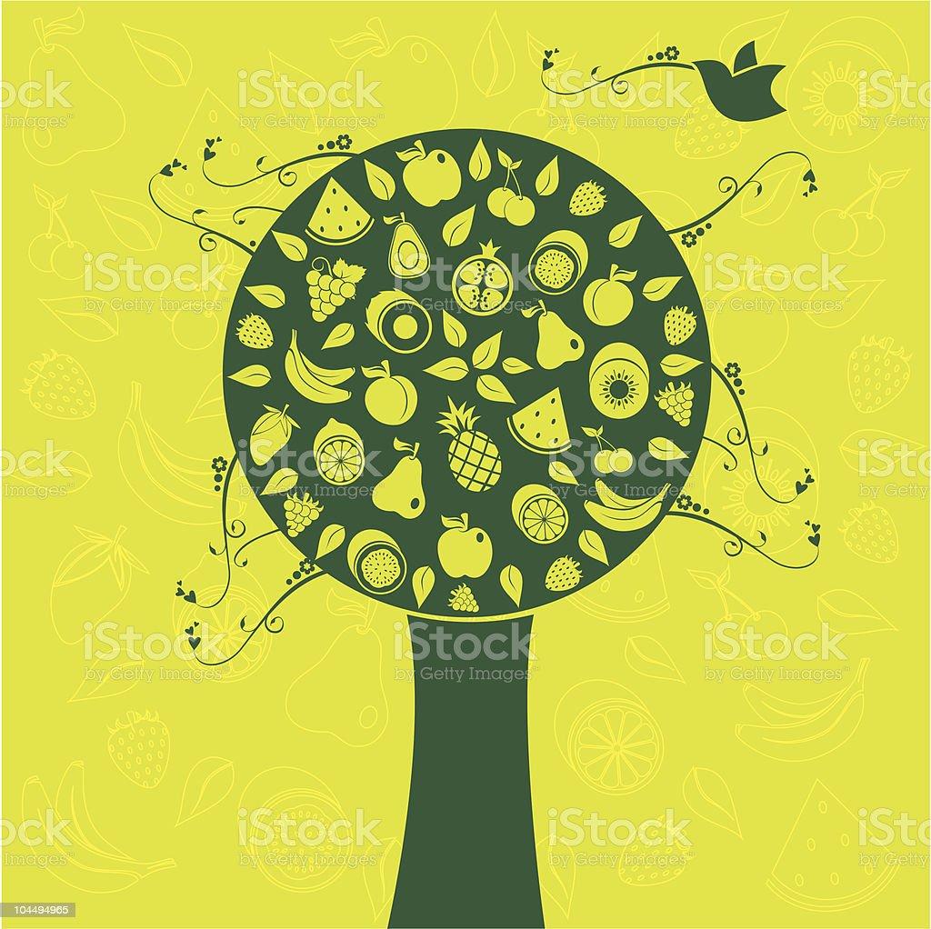 green fruit tree vector art illustration