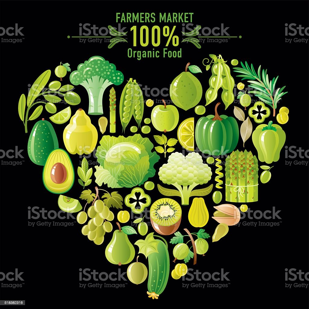 Green fruits and vegetables heart shape on black background vector art illustration