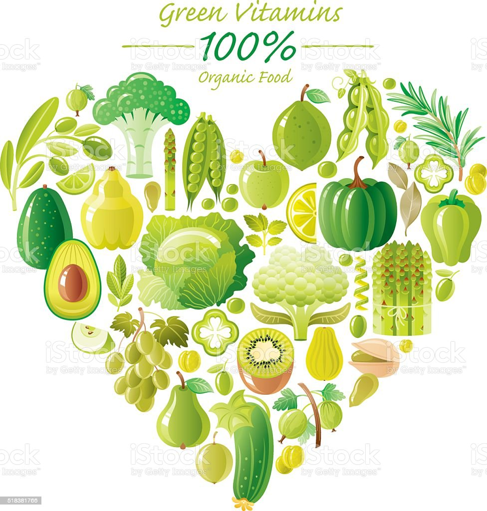 Green fruits and vegetables heart shape vector art illustration