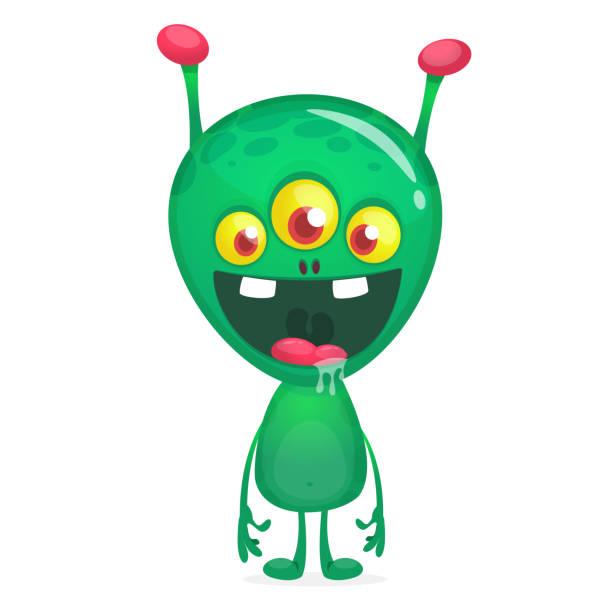 stockillustraties, clipart, cartoons en iconen met groene grappige gelukkige cartoon alien - buitenaards wezen