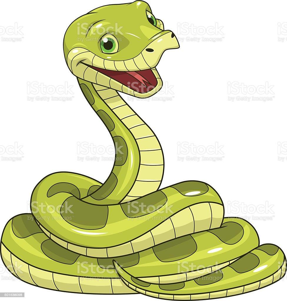 Green funny snake vector art illustration