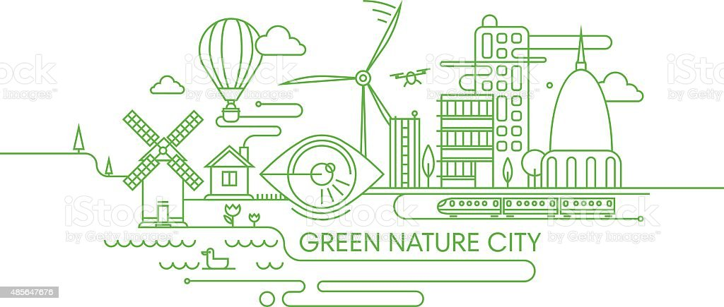 Green future city illustration. vector art illustration