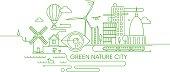Green future city illustration.