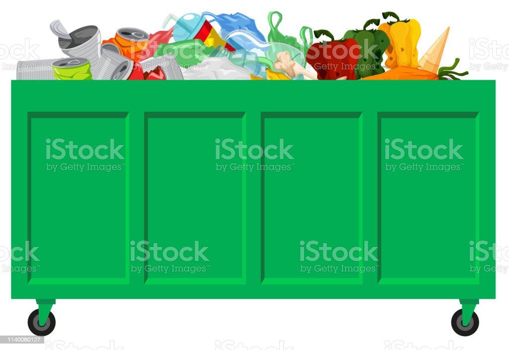 Uma coleta de lixo verde - ilustração de arte em vetor