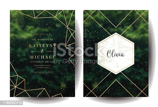 Emerald greenery forest foliage vector background. Green garden trees wedding invitation. Summer leaves card texture. Golden line crystal art. Rustic style save the date.Elegant outdoor party template