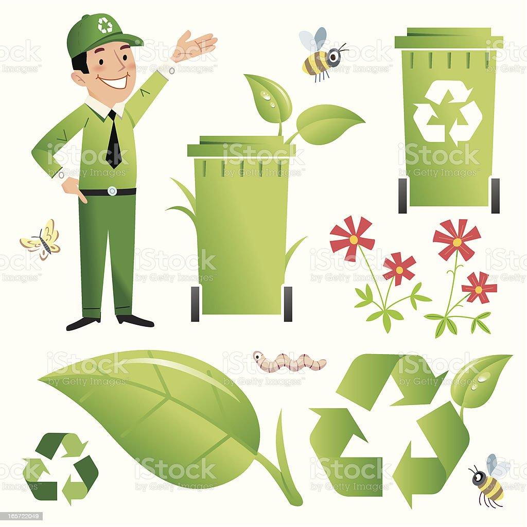 Green Gary's Recycling Bin vector art illustration