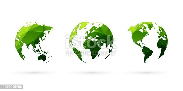 modern style green geometric globes vector set world planet earth