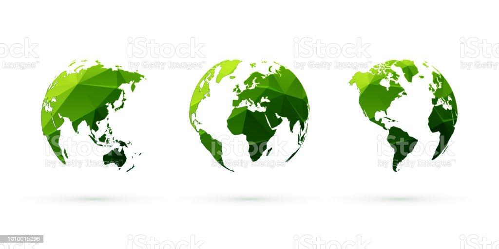 green geometric globes vector set world planet earth vector art illustration