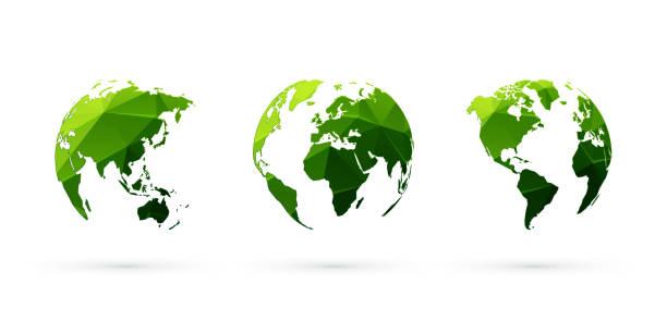 ilustrações de stock, clip art, desenhos animados e ícones de green geometric globes vector set world planet earth - green world