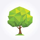 Green geometric palm formed by triangles, vector