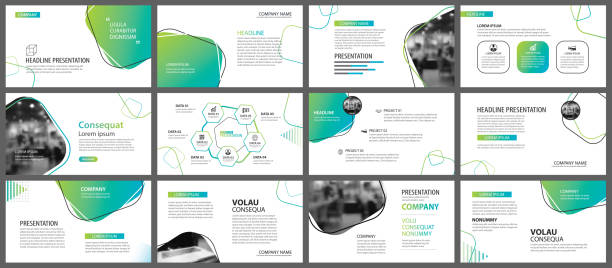 green geometric slide presentation templates and infographics background. use for business annual report, flyer, corporate marketing, leaflet, advertising, brochure, modern style. - brochure templates stock illustrations, clip art, cartoons, & icons