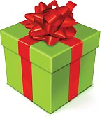 Vector illustration of a Green gift box with red bow.