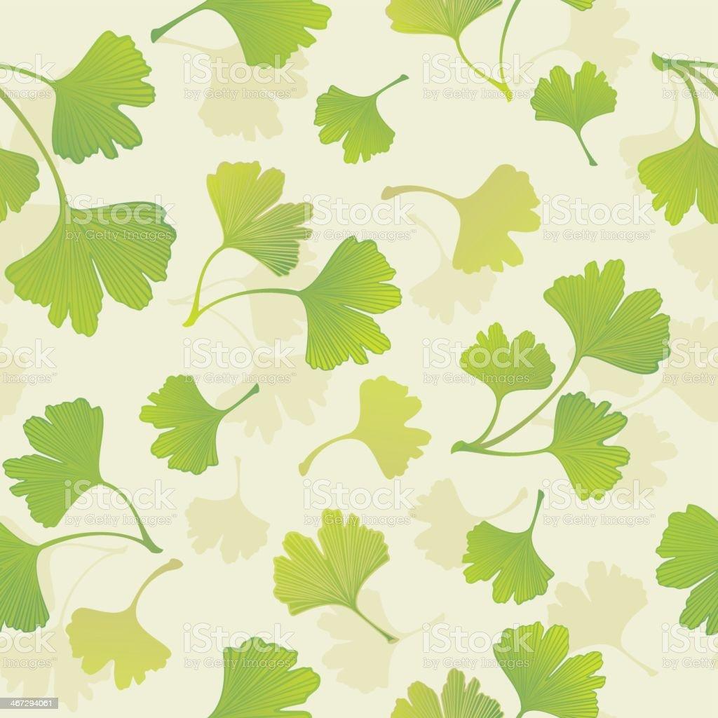 Green Ginkgo Leaves Drawing Beige Seamless Pattern Background vector art illustration