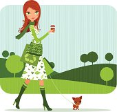 Girl shopping bio with her dog and cozy coffee, layered and groupped, 300dpi 25x25cm jpg incl.
