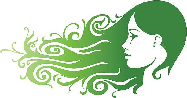 Green Girl vector art illustration