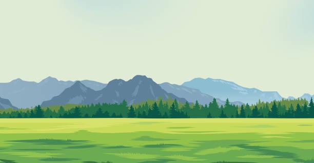 山の背景に緑の空き地 - 草原点のイラスト素材/クリップアート素材/マンガ素材/アイコン素材