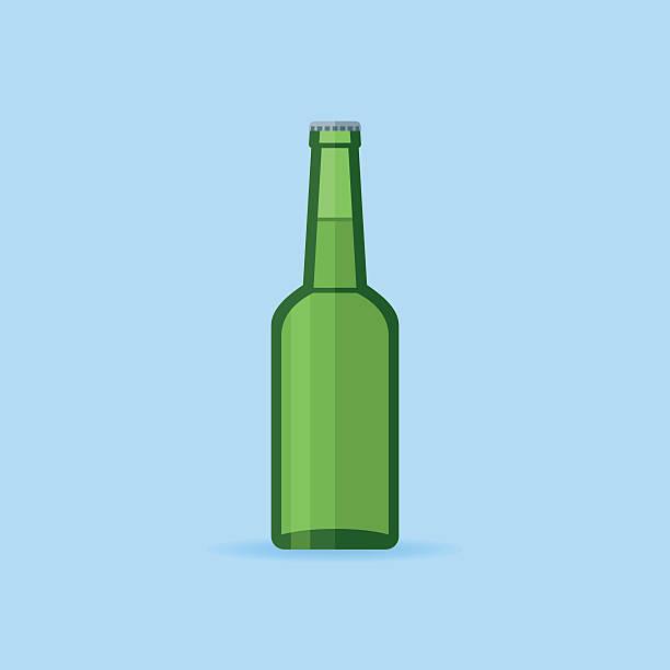 Green glass beer bottle vector art illustration