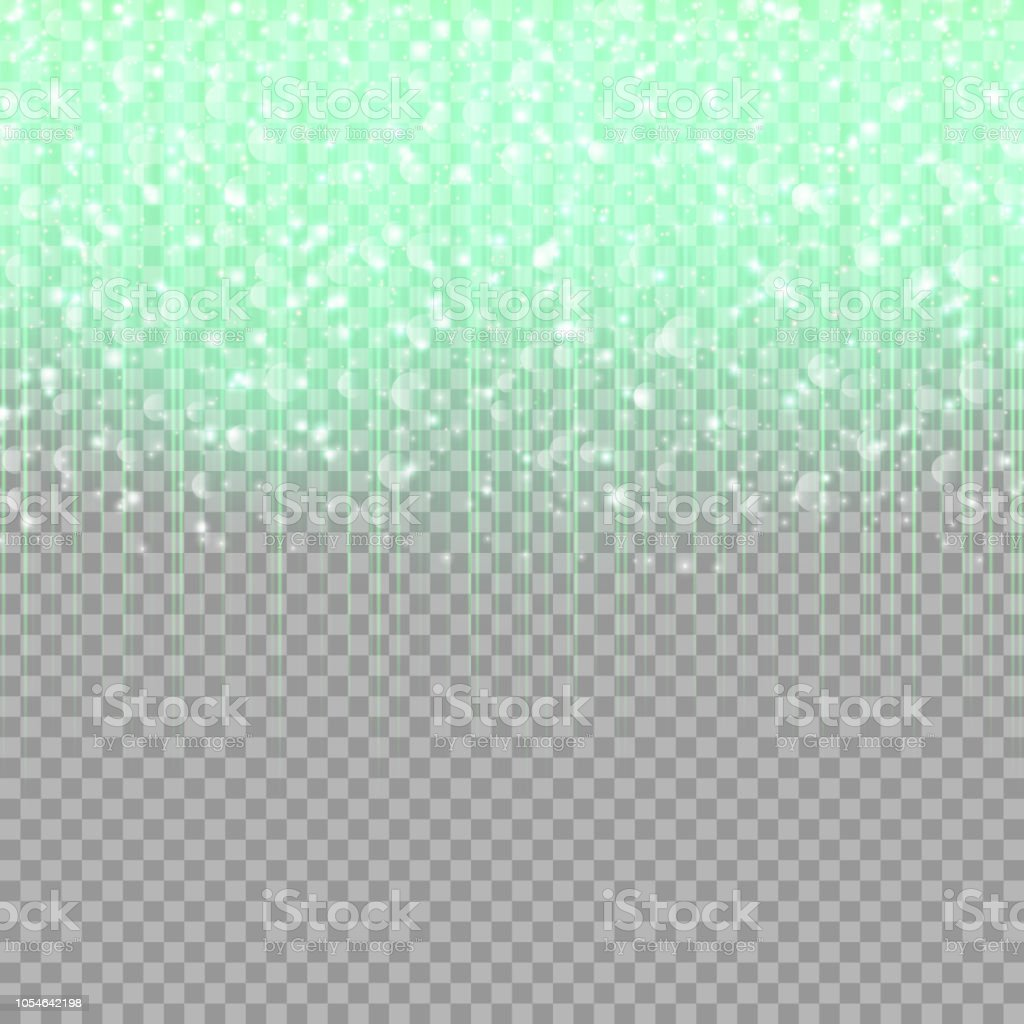 Green glitter on a transparent background vector art illustration