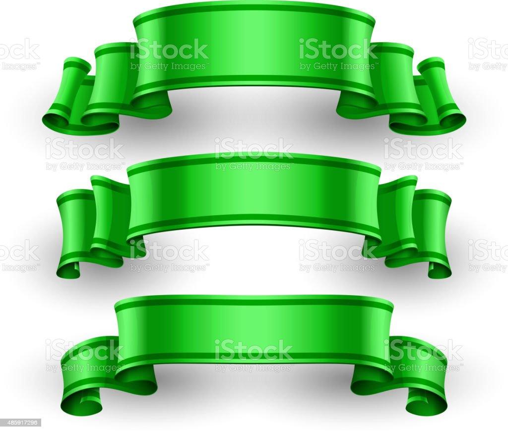 Green Glossy vector ribbons set vector art illustration
