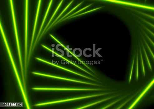 istock Green glowing neon triangular lines abstract background 1218166114