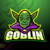 istock Green goblin mascot esport emblem design 1278696532