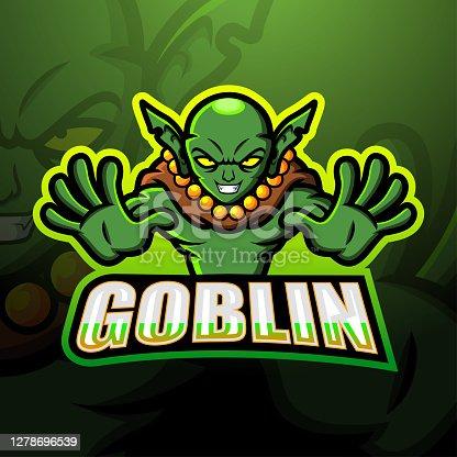 istock Green goblin mascot esport emblem design 1278696539