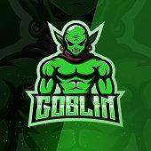 istock Green goblin mascot esport symbol design 1285052281