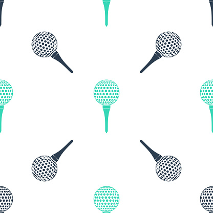 Green Golf ball on tee icon isolated seamless pattern on white background. Vector