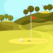 Green Golf Course with Hole and Red Flag. Vector.