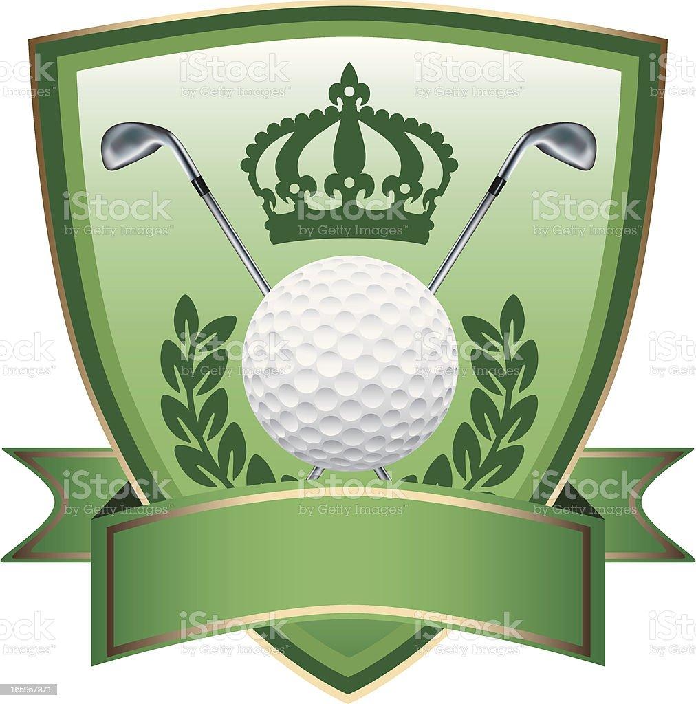 Green Golf Crown Shield royalty-free stock vector art