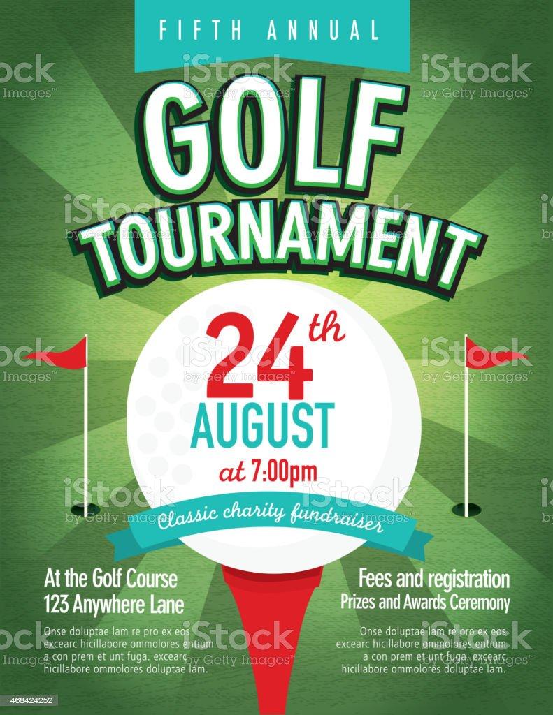 Green Golf Tournament Invitation Design Template On Sunburst Royalty Free  Stock Vector Art