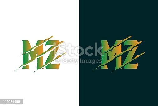 istock Green gradient MZ letter template logo design with scratch effect 1190814981