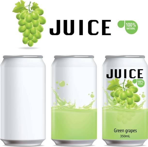illustrazioni stock, clip art, cartoni animati e icone di tendenza di green grapes and design of green grapes juice package - fruit juice bottle isolated