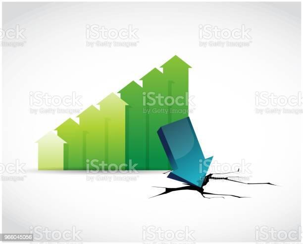 Green Graph Depression Vector Illustration Stock Illustration - Download Image Now