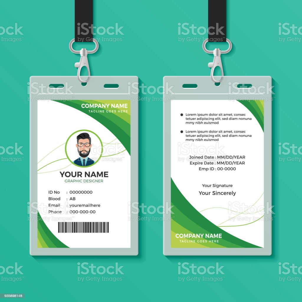 green graphic id card design template stock vector art more images