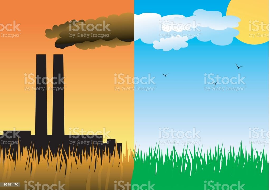 Green grass and polluting factory vector art illustration