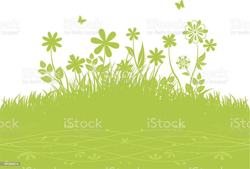 Green grass back vector art illustration