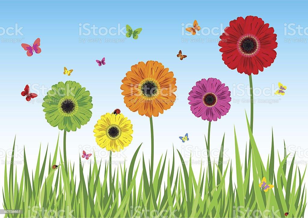 Green grass flowers butterfly vector art illustration