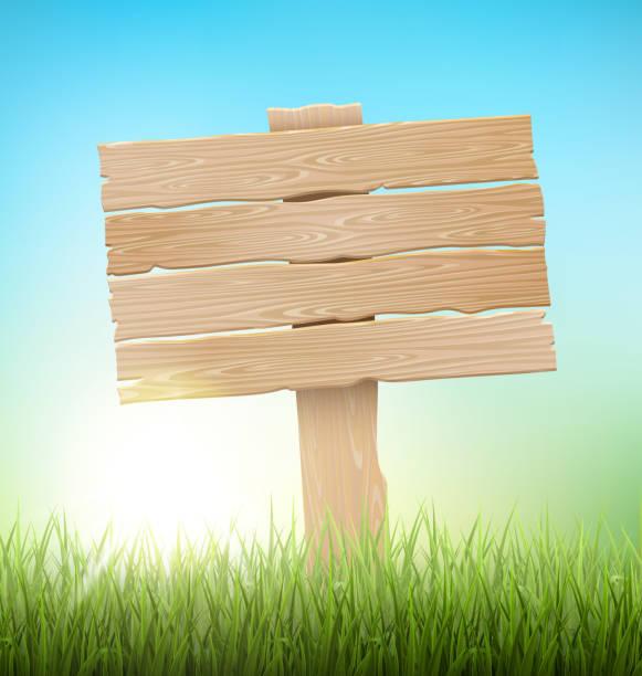 緑草 芝生 」と朝日と白い青い空 ベクターアートイラスト