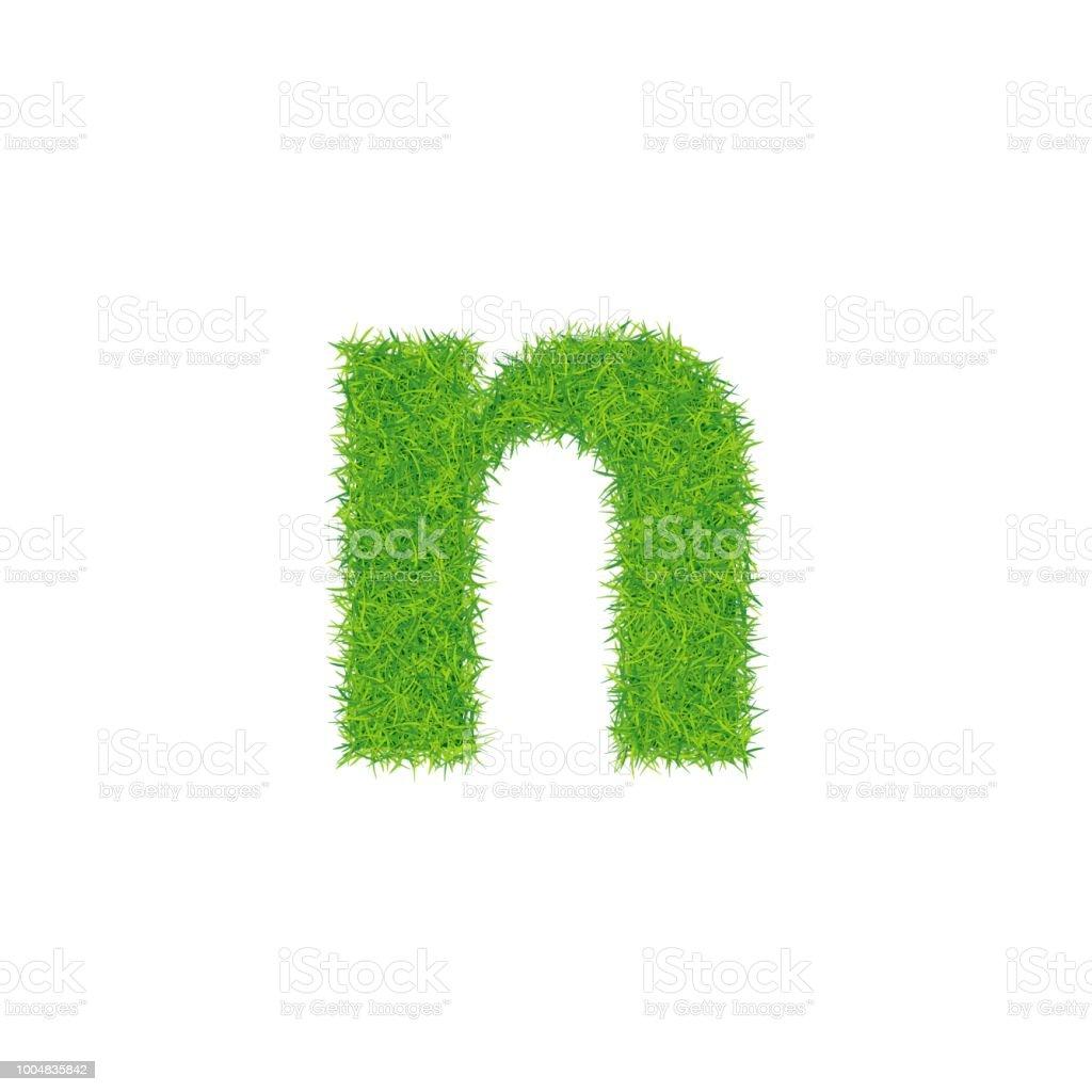 白い背景の上の緑の草文字 N - ...