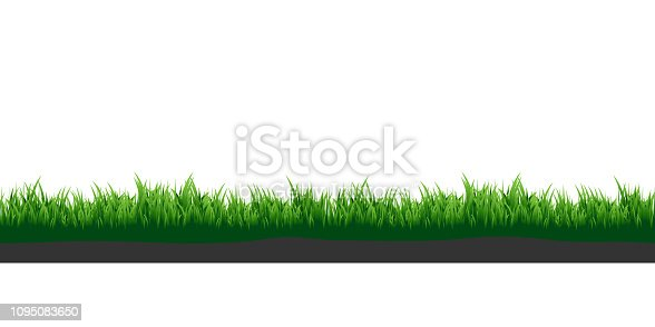 Green grass. Meadow grass with soil. Elements for your design.
