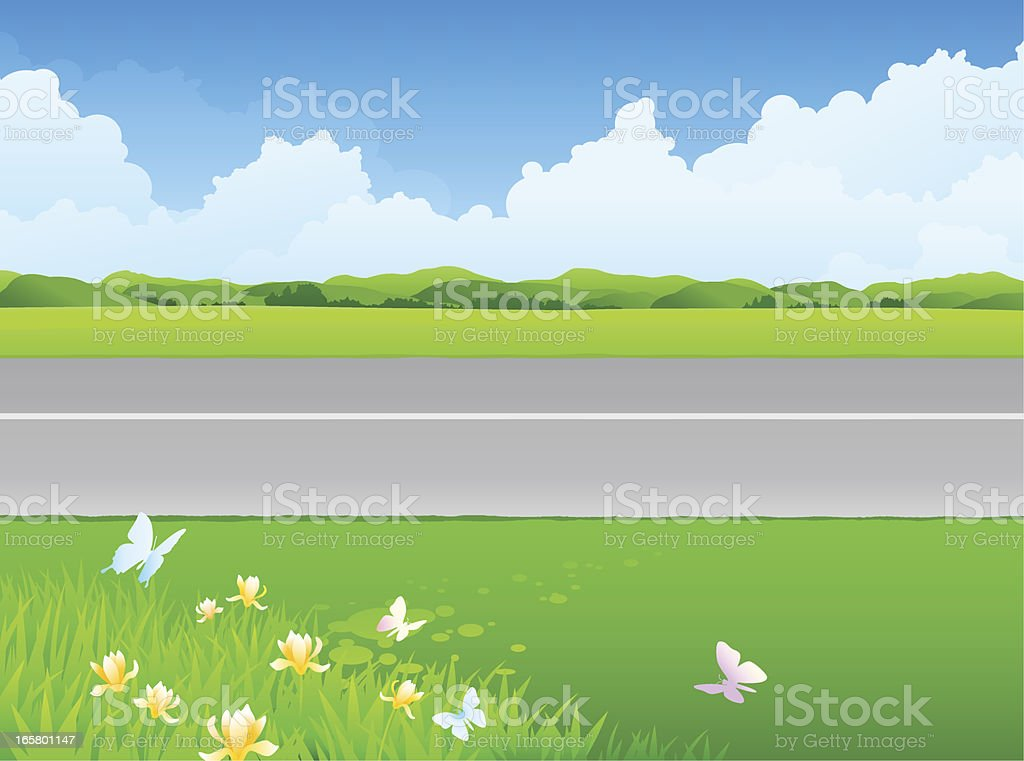 Green grass next to the gray road royalty-free stock vector art