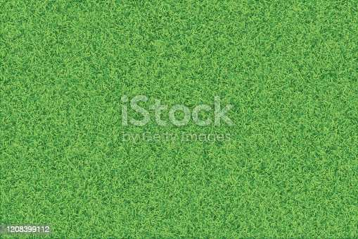 Vector realistic top view illustration of grass texture background in bright yellow green color tone.
