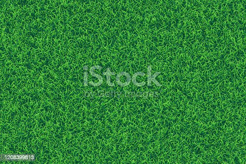 Vector realistic top view illustration of grass texture background in bright green color tone. Top view.