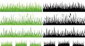 Set of horizontal seamless green grass patterns and black silhouettes