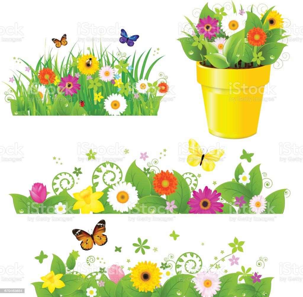 Green Grass With Flowers Set – Vektorgrafik