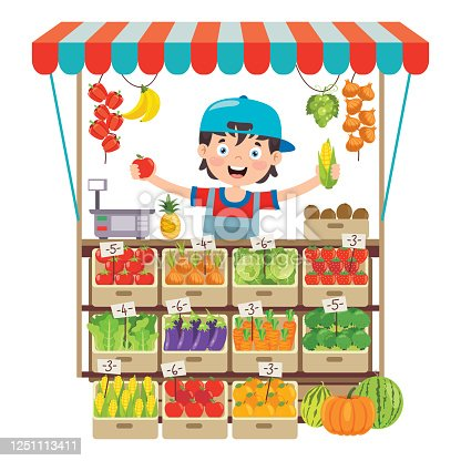 istock Green Grocer Shop With Various Fruits And Vegetables 1251113411